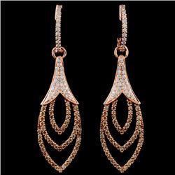 14K Gold 1.37ctw Fancy Diamond Earrings