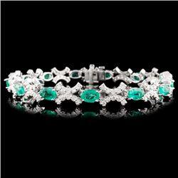 14K Gold 6.10ctw Emerald & 1.85ctw Diamond Bracele