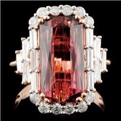 14k Gold 6.17ct Tourmaline & 0.97ct Diamond Ring