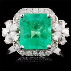 18K White Gold 2.60ct Emerald & 0.77ct Diamond Rin