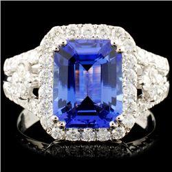 14K Gold 2.83ct Tanzanite & 0.81ctw Diamond Ring