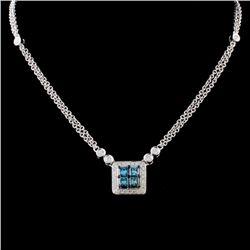 14K White Gold 0.69ctw Fancy Color Diamond Necklac
