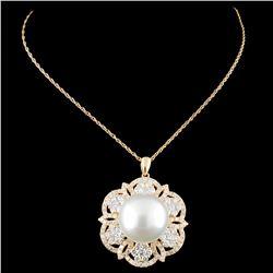 18K Gold 14MM Pearl & 2.26ctw Diamond Pendant