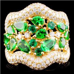 18K Gold 0.45ct Emerald & 1.62ctw Diamond Ring
