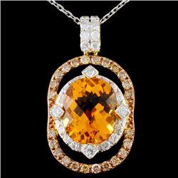 14K Gold 4.92ct Citrine & 1.05ctw Fancy Diamond Pe