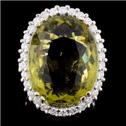 18K Gold 15.81ct Tourmaline & 1.07ct Diamond Ring