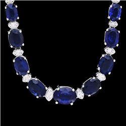 `14k Gold 30ct Sapphire 1.20ct Diamond Necklace