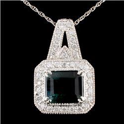 14K Gold 3.30ct Tourmaline & 0.41ctw Diamond Penda