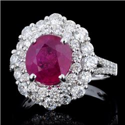 18K Gold 3.23ct Ruby & 1.51ct Diamond Ring