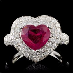 18K White Gold 2.38ct Ruby & 1.31ct Diamond Ring