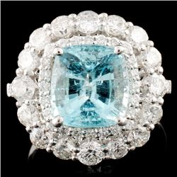 18K Gold 3.33ct Paraiba & 1.74ctw Diamond Ring