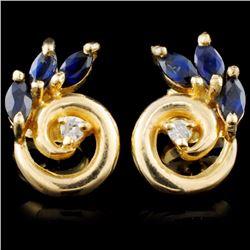 14K Gold 0.64ctw Sapphire & 0.04ctw Diamond Earrin