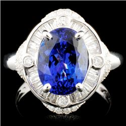 18K Gold 3.62ct Tanzanite & 0.58ctw Diamond Ring