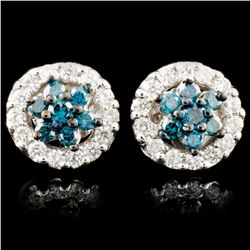 14K Gold 0.76ctw Fancy Color Diamond Earrings