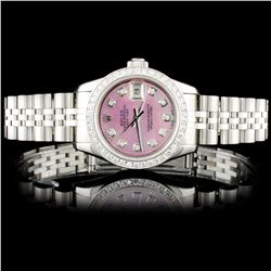 Rolex SS DateJust 1.00ct Diamond Ladies Wristwatch
