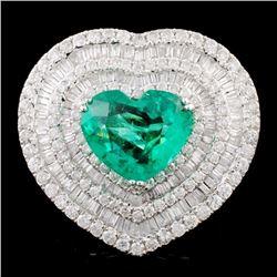 18K Gold 4.20ct Emerald & 3.18ctw Diamond Ring
