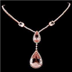 14K Rose Gold 23.45ct Morganite & 3.86ctw Diamond