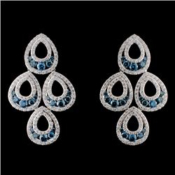 14K White Gold 4.42ctw Fancy Color Diamond Earring