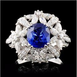18K White Gold 2.01ct Sapphire & 1.77ct Diamond Ri