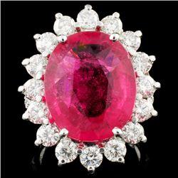 14K Gold 10.19ct Rubellite & 3.05ctw Diamond Ring