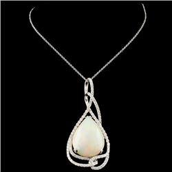 14K Gold 11.04ct Opal & 1.20ctw Diamond Pendant