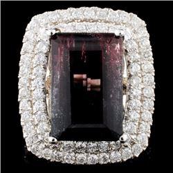 14K Gold 10.74ct Tourmaline & 2.04ctw Diamond Ring