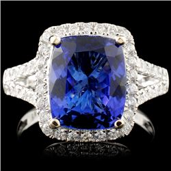 18K Gold 3.89ct Tanzanite & 0.54ctw Diamond Ring