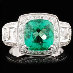 18K Gold 2.31ct Emerald & 1.10ctw Diamond Ring
