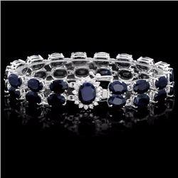 `14k Gold 53.5ct Sapphire 0.60ct Diamond Bracelet
