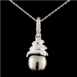 14K Gold 4MM Pearl & 0.43ctw Diamond Pendant