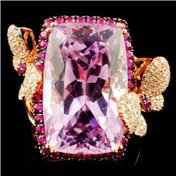 18K Rose Gold 18.73ct Kunzite & 0.52ctw  Diamond R