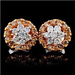 14K Rose Gold 0.75ctw Fancy Color Diamond Earrings