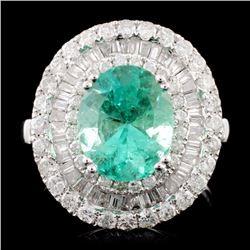 18K Gold 2.50ct Emerald & 1.79ctw Diamond Ring