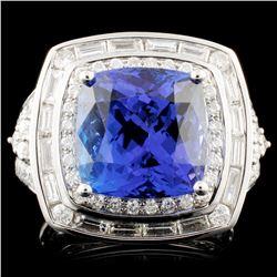 18K Gold 6.20ct Tanzanite & 1.78ctw Diamond Ring
