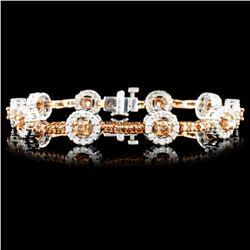 14K Gold 3.67ctw Fancy Color Diamond Bracelet