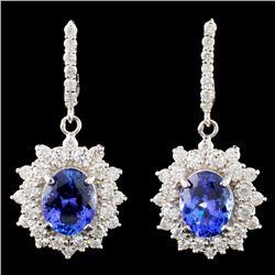 14K Gold 4.00ctw Tanzanite & 1.47ctw Diamond Earri