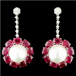 18K Gold 13MM Pearl & 1.08ctw Diamond Earrings