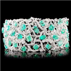 18K Gold 18.40ct Emerald & 4.88ctw Diamond Bracele