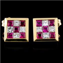 18K Gold 0.92ctw Ruby & 0.49ctw Diamond Earrings