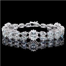 `14k W/G 26ct Aquamarine 1.50ct Diamond Bracelet