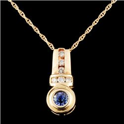 14K Gold 0.47ct Tanzanite & 0.25ctw Diamond Pendan