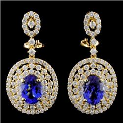 18K Gold 4.14ctw Tanzanite & 2.76ctw Diamond Earri