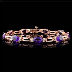 14K Gold 9.60ct Amethyst & 1.08ct Diamond Bracelet