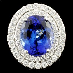18K Gold 6.31ct Tanzanite & 1.26ctw Diamond Ring