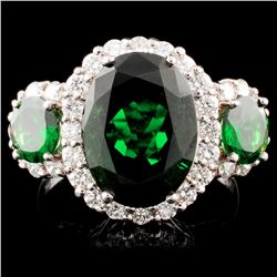 18K Gold 6.55ct Tsavorite & 2.72ctw Diamond Ring