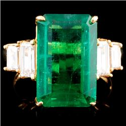 18K Gold 7.82ct Emerald & 1.07ctw Diamond Ring