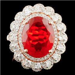 14K Gold 3.05ct Opal & 1.09ctw Diamond Ring