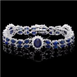 `14k Gold 22ct Sapphire 1.85ct Diamond Bracelet