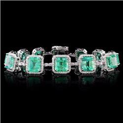 18K Gold 23.14ct Emerald & 2.98ct Diamond Bracelet