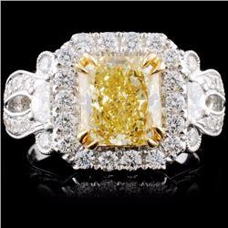 18K Gold 3.39ctw Fancy Color Diamond Ring